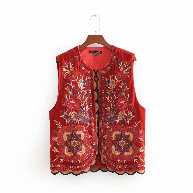 Donne vintage paillettes fiore ricamo ricamo giacca signore retrò stile nazionale stile patchwork casual velluto gilet ct154 210420