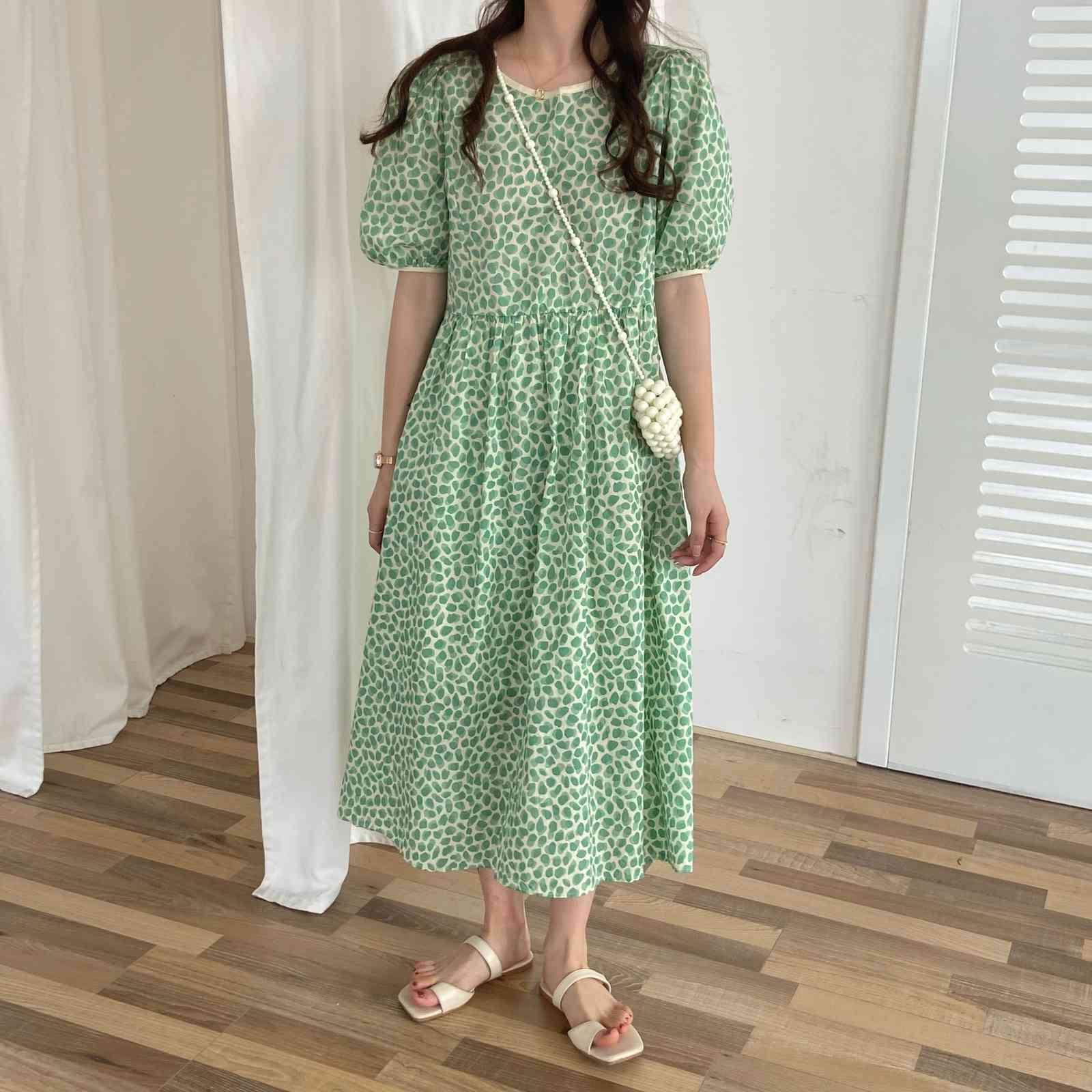 Summer Brief Sweet Polka Dot Chic Party Slim Long Dresses Office Lady French Floral Elegant Stylish 210514