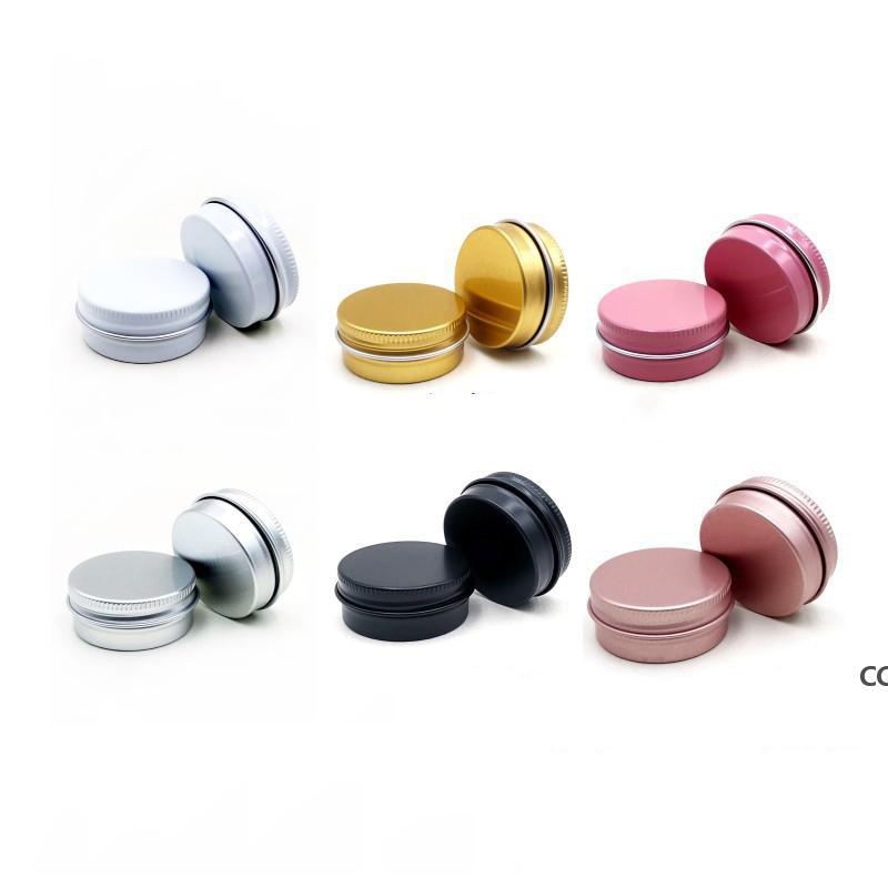 Алюминиевые оловянные банки с винтовыми крышками 15 мл 0,5 унции круглые баллонки пустые косметические контейнеры для бальзама для губ, лосьона, сливки, маска DHD7327