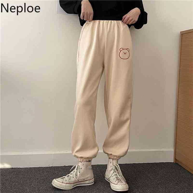 Bahar Harem Pantolon Ayı Baskı Tüm Maç Sweatpants Kadın Elastik Bel Gevşek Rahat Pantalon Kore Düz Pantolon 210422