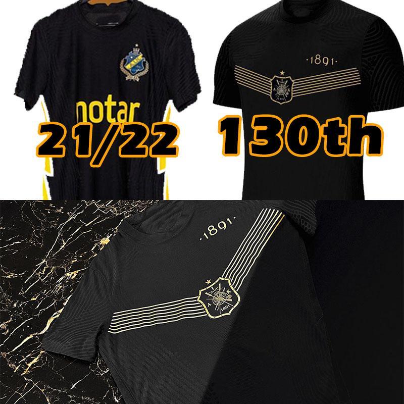 21 22 AIK Soccer Jerseys 130 سنوات منذ 1891 Fotboll قميص أسود ذهبي PapagianNopoulos Rogic Larsson Tihi 2021 2022 130th Anniversary كرة القدم قمصان أعلى الزي الرسمي