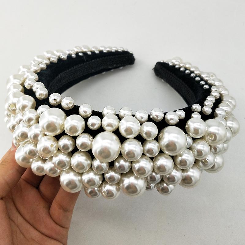 Barock Haarband Perlen Stirnband Prinzessin Krone Haarperlen Big White Pearl Crown Bridal Haarschmuck Bijouterie