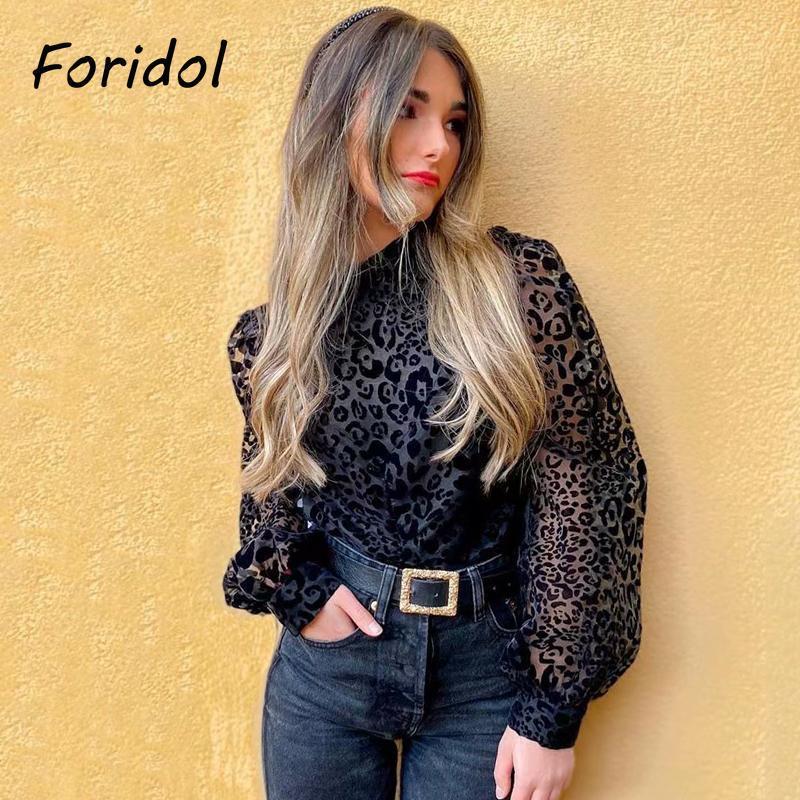 FORIDOL BLACK Leopard Muster Tüll Bluse-Hemd Frauen Langarm Sehen Sie durch Bouse Top Sexy Elegante Rüschen Damen Tops 2021 Frauen Bluse
