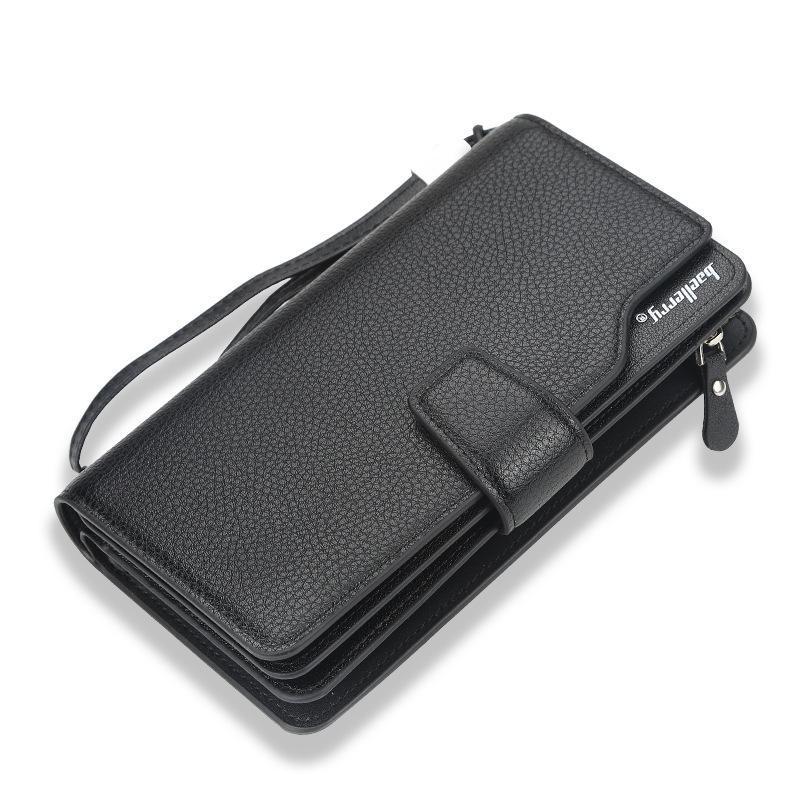 محافظ الرجال المحفظة الكورية متعددة الوظائف حالة الهاتف المحمول طويل متعدد البطاقات الموقف ثلاثة أضعاف سستة القابض حقيبة الرجال