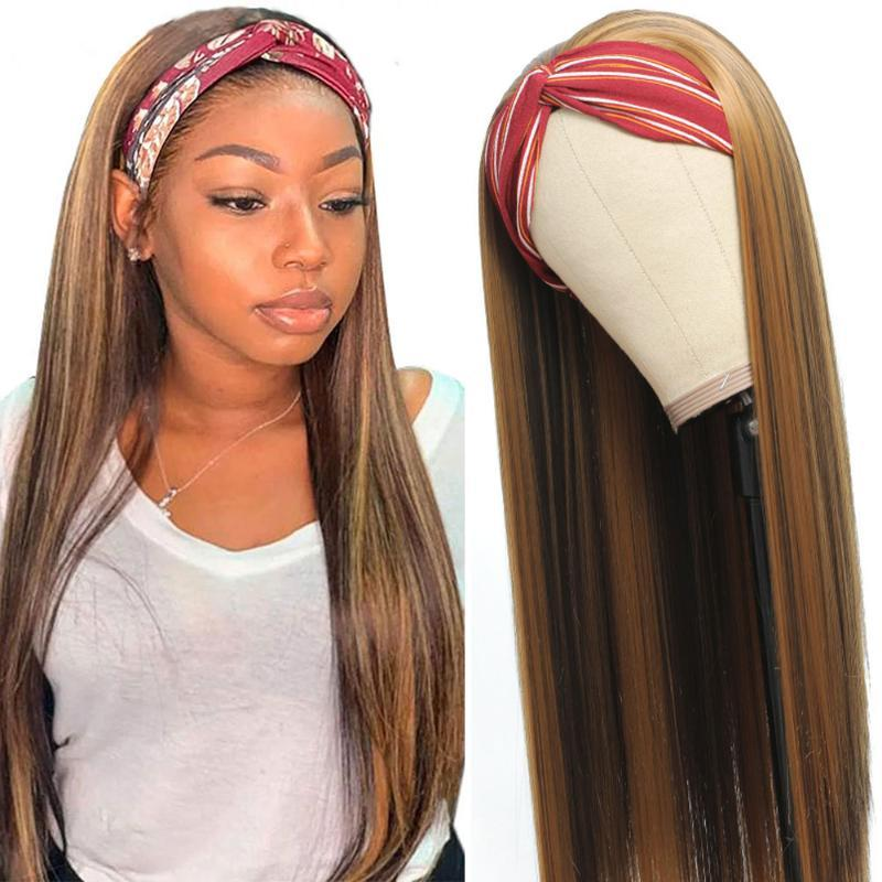Hightlight Straight Headband Partys Women Black Women Syntetic Hair Facile da indossare # 4/27 20-30 pollici