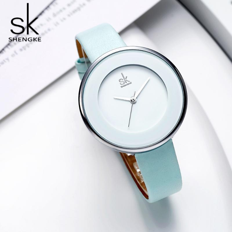 Armbanduhren Shengke Frauen Quarz Luxus Uhren Weibliche Weiße Leder Armbanduhr Mode Kleid Uhr Ultra dünn Relogio Feminino