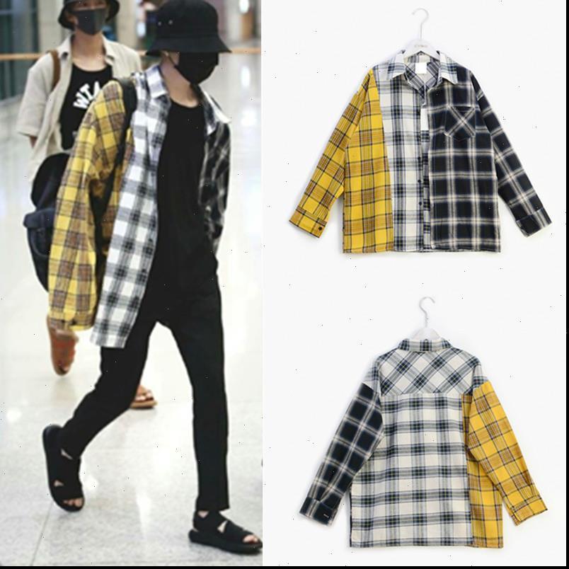 Bayan Gömlek KPOP Bangtan Boy Suga Aynı Unisex Moda Ekose Bluz Kore Tarzı Cep Çok Renkli Hafif