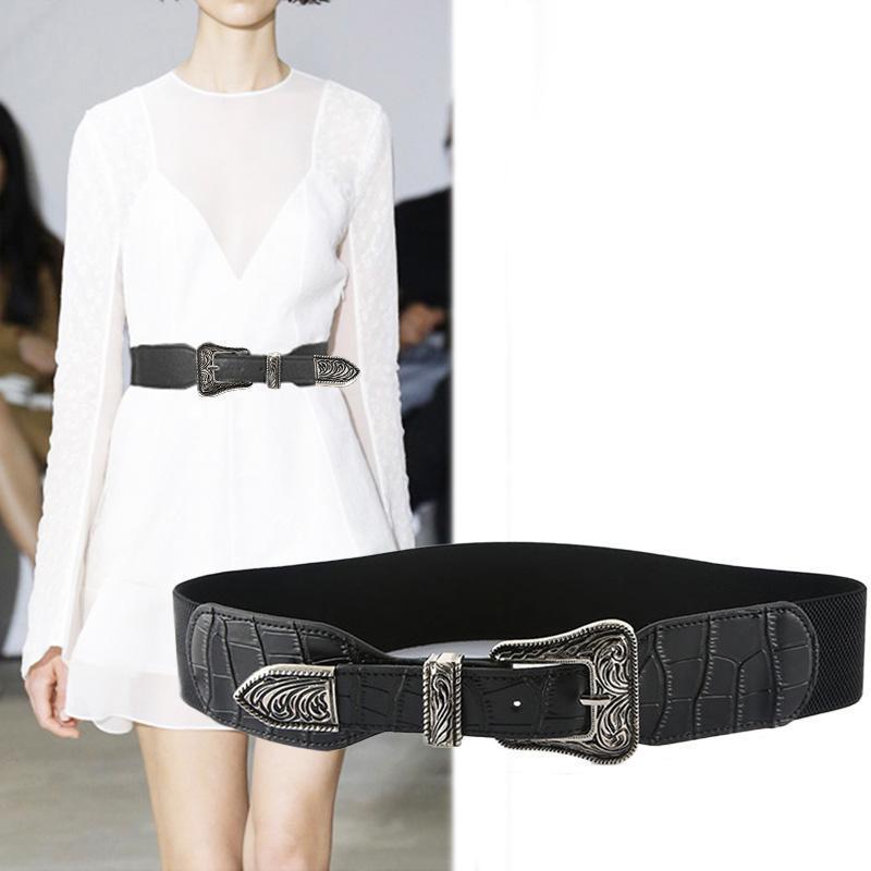 أحزمة الرجعية أزياء المرأة مرونة مصمم ماركة منحوت مشبك الخصر حزام اللباس معطف سترة سيدة الزخرفية حزام حزام