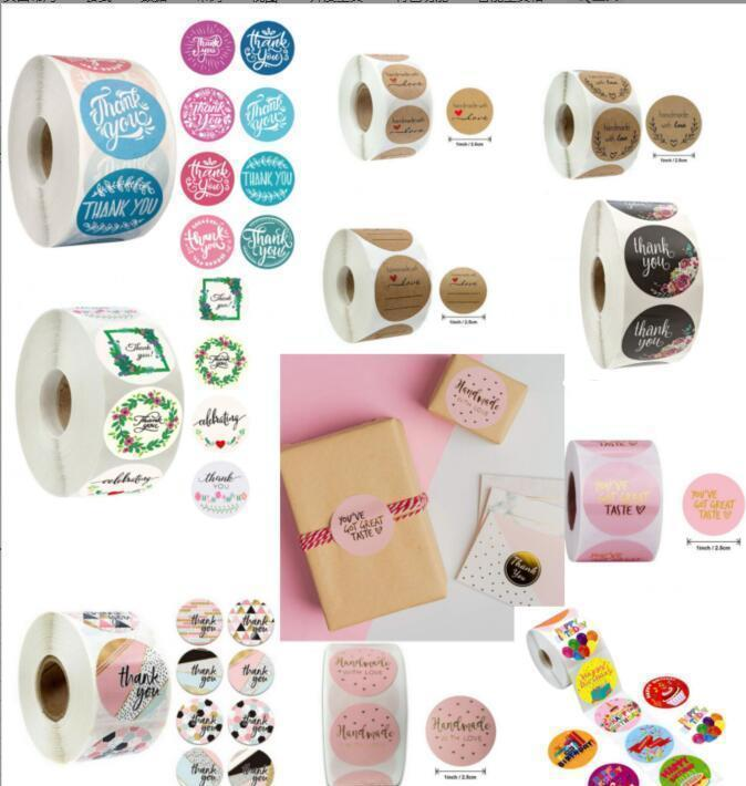 Tapes Stickers Supplies Office School & Industrial Drop Delivery 2021 Pink Colors 500Pcs/Roll 10 Styles Flowers Heart Thank You Adhesive Stic