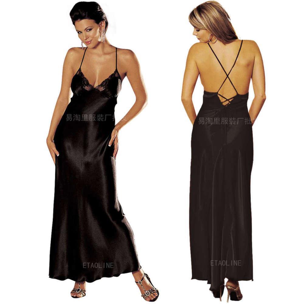 Falda de imitación Seda ropa interior Cruz Cinturón de hombro largo con suspensión Perspectiva sexy abierta Pajamas sedosas y transpirables