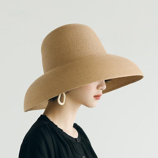 Summer Sun Hat Gread Beaves Beach Hat femmes Japonais Hepburn Style Vacances Plis Fisherman Cap Tempéramment Chapeau de paille Temple Grossiste