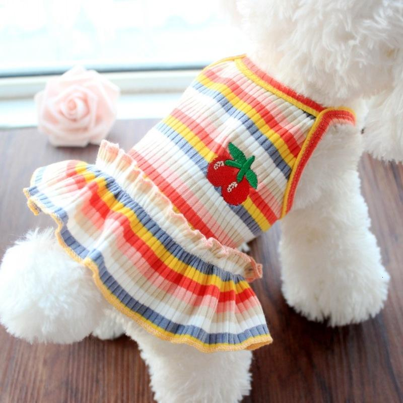 Spring and Summer Dog Pet Lovers Thin Clothes Color Stripe Cat Skirt Vest