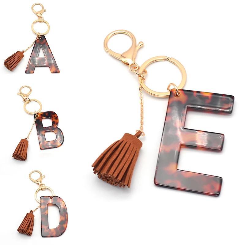 Mektup Anahtarlık Toptan Trendy İlk Alfabe Leopar Mektubu Anahtarlık Aksesuarları Püskül Anahtarlık Çanta Asılı Dekorasyon