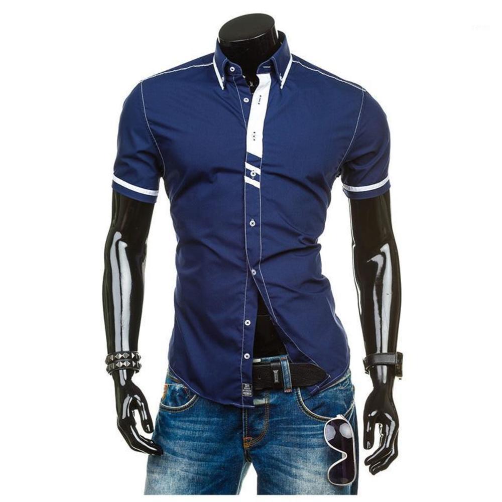 Zogaa Erkek Kısa Kollu Gömlek Kontrast Renk Elbise Gömlek Akıllı Rahat Nefes Patchwork Iş Gömlek Erkekler Polos 20201