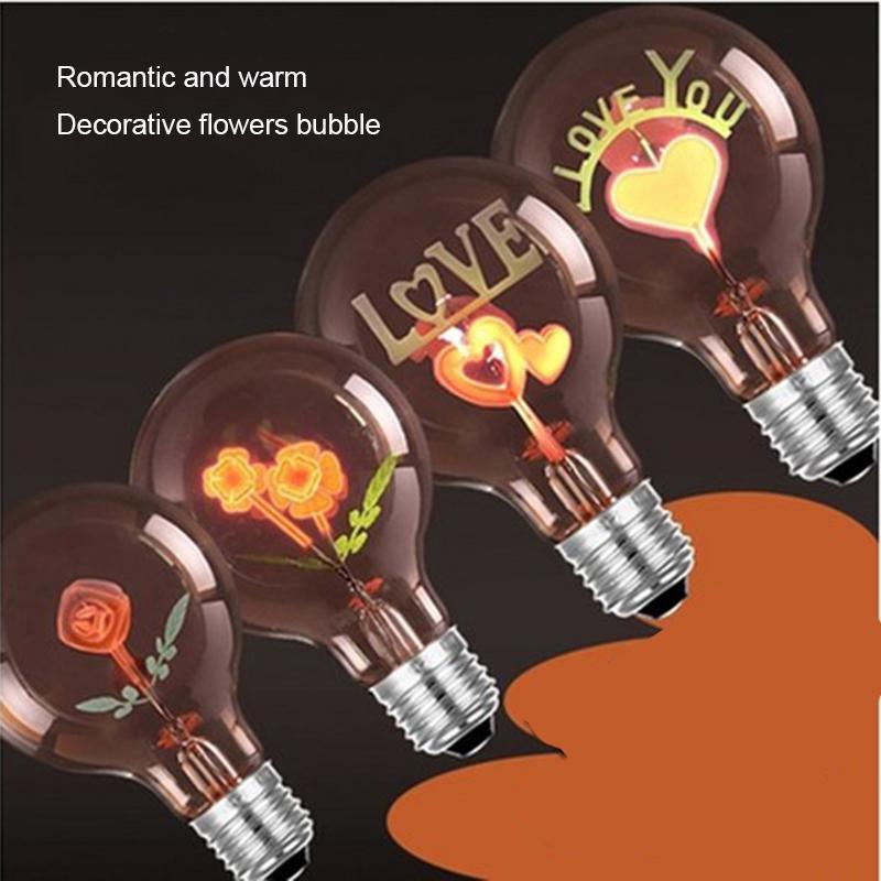 Party Decoration Retro Edison Bulb E27 Soft Spiral LED Filament Ampoule Vintage Lamp Loving Heart Home 220V 3W
