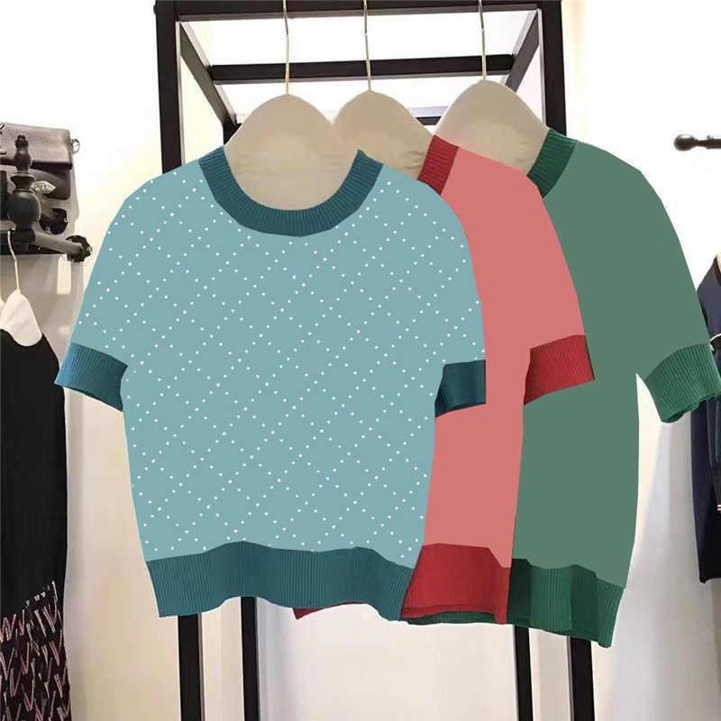 클래식 편지 여성 니트 티셔츠 티셔츠 짧은 소매 숙녀 탑스 의류 니트 통기성 여자 셔츠 3 색