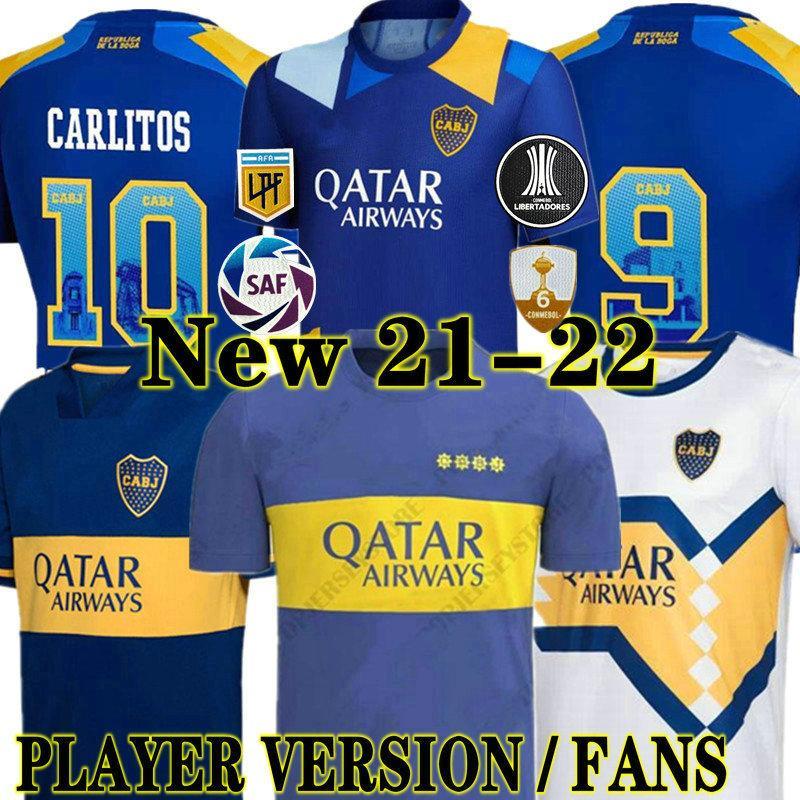 Fans Spieler Version 21 22 BOCA Juniors Fussball Jersey Carlitos Maradona Tevez de Rossi 2021Thriden Auswärts 3. 4. Thailand Fußball Hemd Männer und Kinder Sets Uniform
