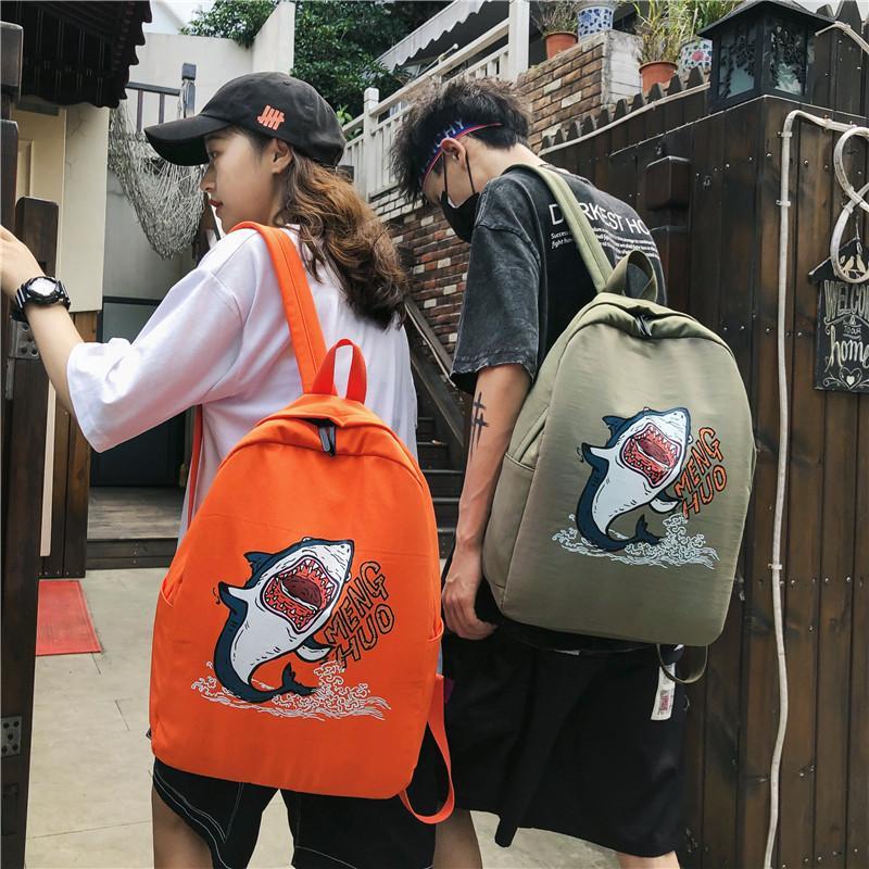 حقيبة الظهر 2021 الكورية النايلون ماء الطباعة المدرسية المدرسية الكرتون قرش رسالة طالب