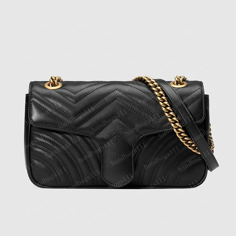 حقيبة يد Marmont حقيبة المرأة حقائب كروسبودي حقائب جلدية سوداء pochette محفظة حقيبة دلو واق 10 ألوان 443497 26/15/7 سنتيمتر # YFB02