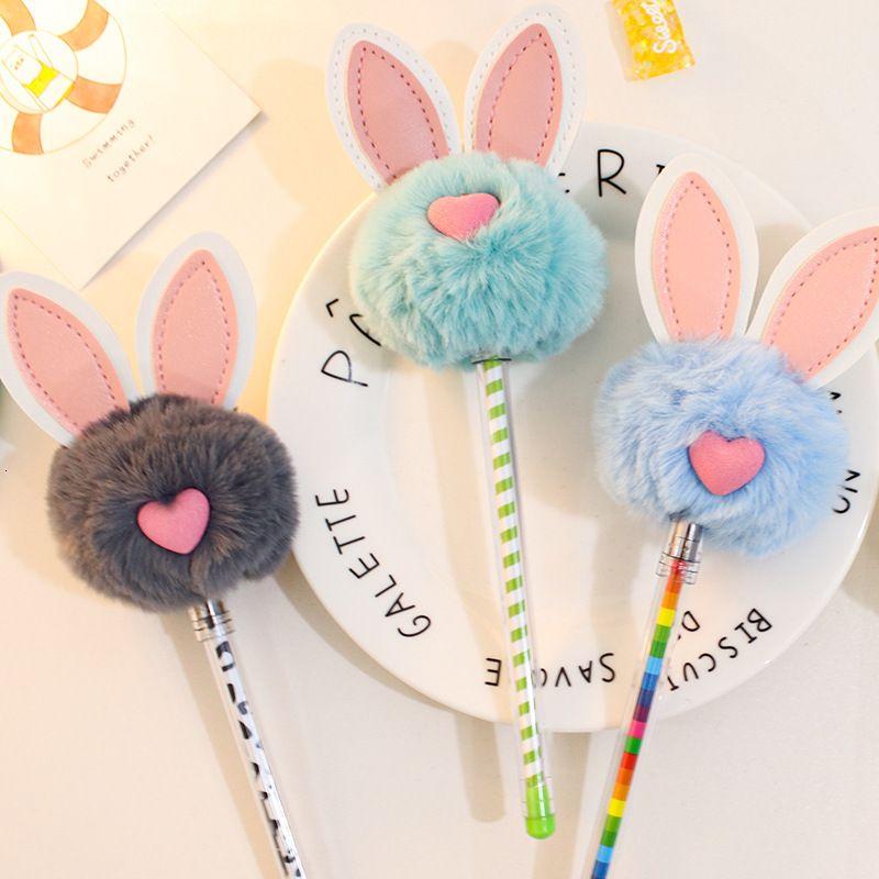 Modeling Korean Creative Cute Plush Neutral Girl Heart Black Signature Rabbit Ear Student Water Pen