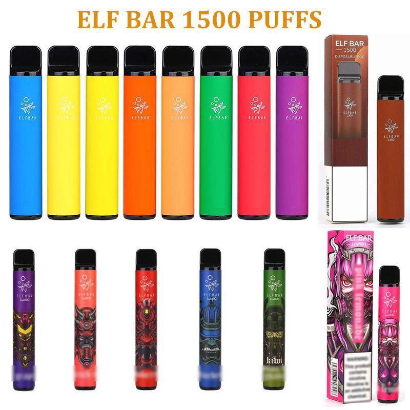 Elf Bar Dispositivo de Vape E Cigarro Device 1500 Puffs 850mAh Bateria 4,8ml Cartucho Prefilado Gunnpod Sopr Plus Ultra Infinito