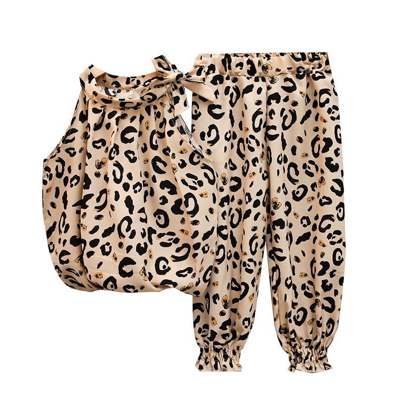 Varejo / Atacado Meninas Leopard Chiffon 2 Pcs Set Tracksuit Bow Sem Mangas Top + Pant Roupas Conjuntos Girl Outfits Crianças Designers Roupas
