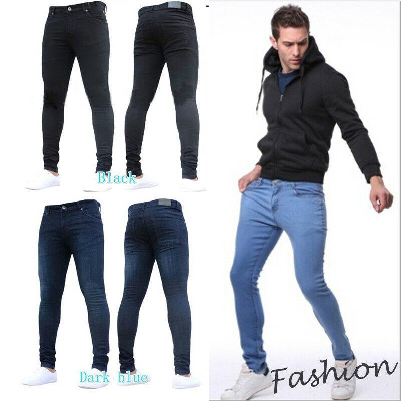 Jeans Moda Hombres NY Efectos Color Potato Hombres Slim Fit Denim Denim Broek Negro Dark Light Blue