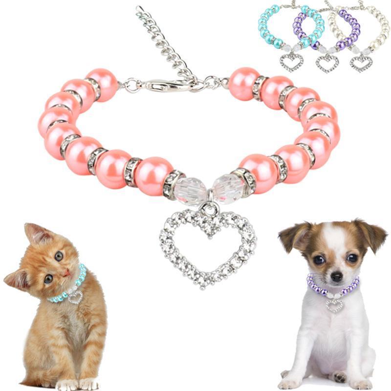 Teddy VIP Bead Panda Pearl Ожерелье Вода Бриллиант Кулон Pet Dog Puppy Ювелирные Изделия Cat Ошейники приводит