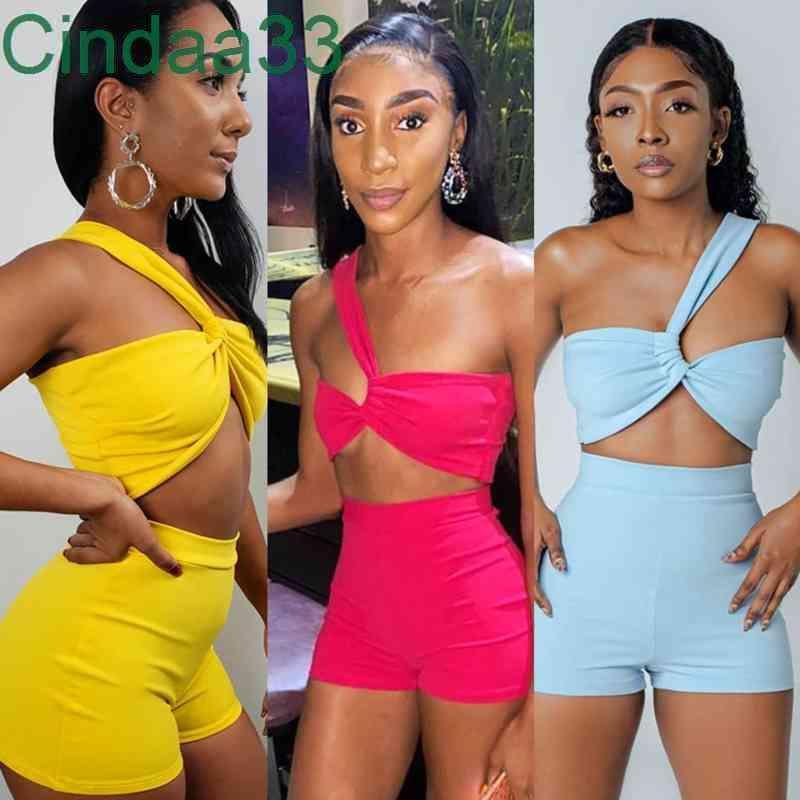 Yaz Kadın Eşofmanlar Ince Seksi Tasarımcı Düzensiz Kolsuz T-shirt Yüksek Bel Şort Katı Renk 2 Parça Jogging Yapan Setleri Yoga Kıyafetler Sportwear