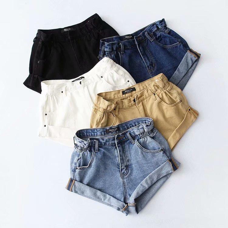 Kadınlar için şort yaz kadın moda çok yönlü yüksek flanel denim elastik bel beş renk pantolon
