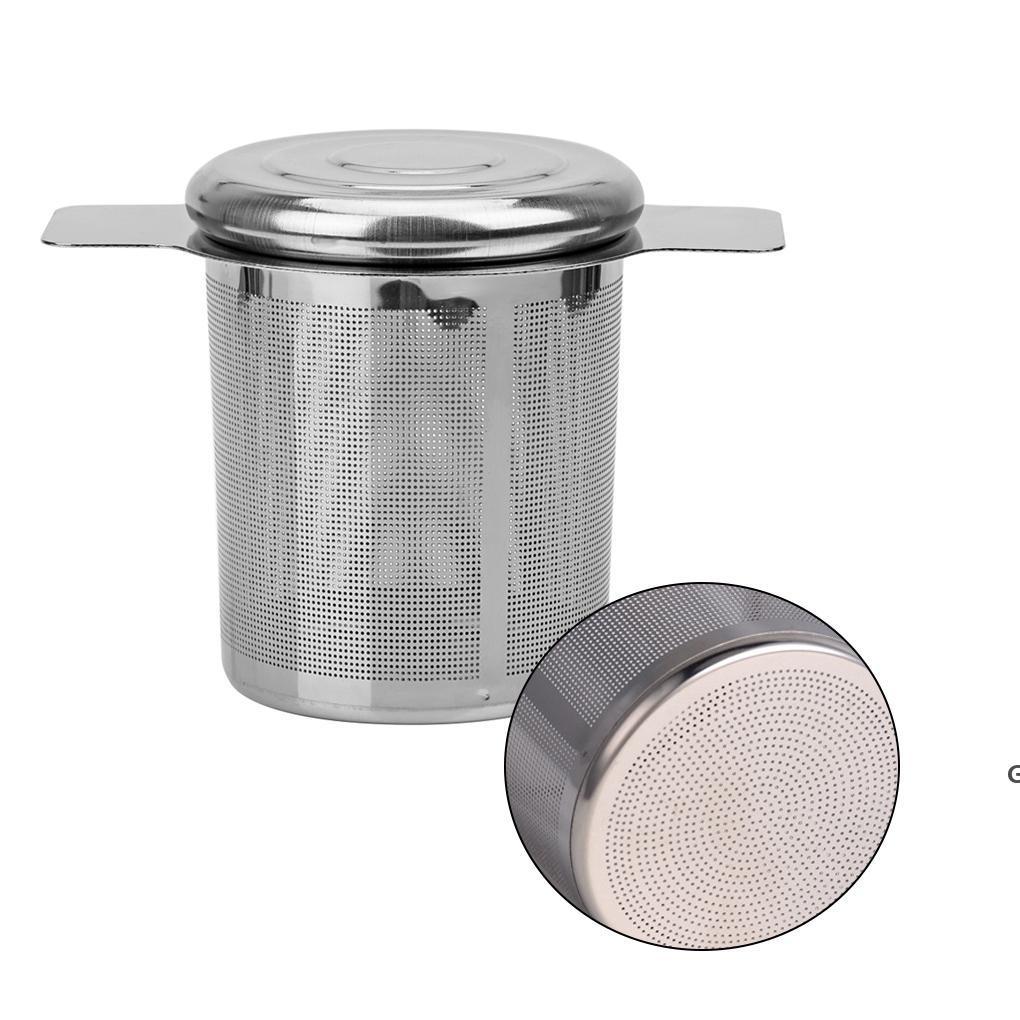 Dupla alças Infusor de chá com tampa de aço inoxidável malha fina filtro de café copo de bule pendurado filhas de chá de folha solta HWB6706