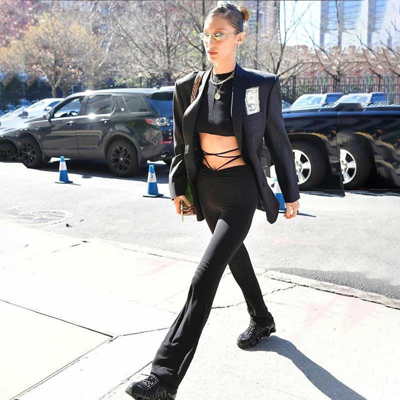 하라주쿠 높은 허리 섹시한 얇은 여자 바지 붕대 스트레이트 품질 긴 바지 스키니 캐주얼 스트리트웨어