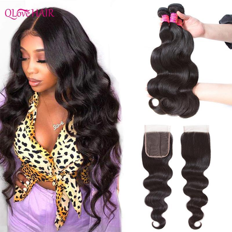 Human Hair Bulks Qlove 3/4 Body Wave Bundles With Closure Burmese 100% Weave Lace Remy Extensions
