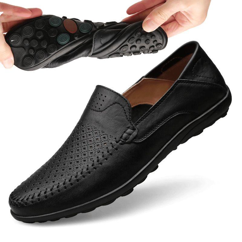 Homens de verão Casuais sapatos de couro genuíno homens mocassins mocassins 2021itália respirável deslizamento em sapatos