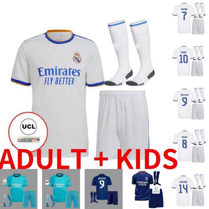 Yetişkin Çocuk Seti 20 21 22 Gerçek Madrid Futbol Formaları 2021 2022 Ev Uzaktan Üçüncü Hazard Zidane Benzema Futbol Gömlek Camiseta de Futbol Setleri