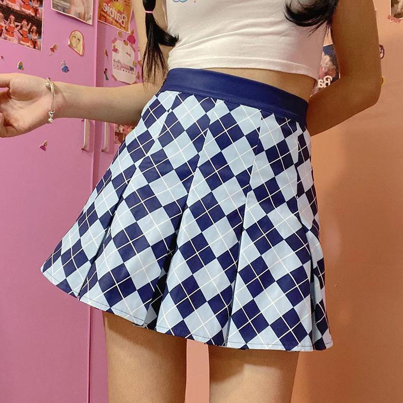 Sommerfrau Mini Röcke Harajuku Mode Nette Kawaii Für Mädchen Hohe Taille Plaid Plissee Rock Frauen HG077