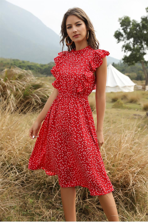 여름 도트 인쇄 된 여성 캐주얼 드레스 나비 슬리브 러버 중간 라인 긴 쉬폰 드레스 S-XL