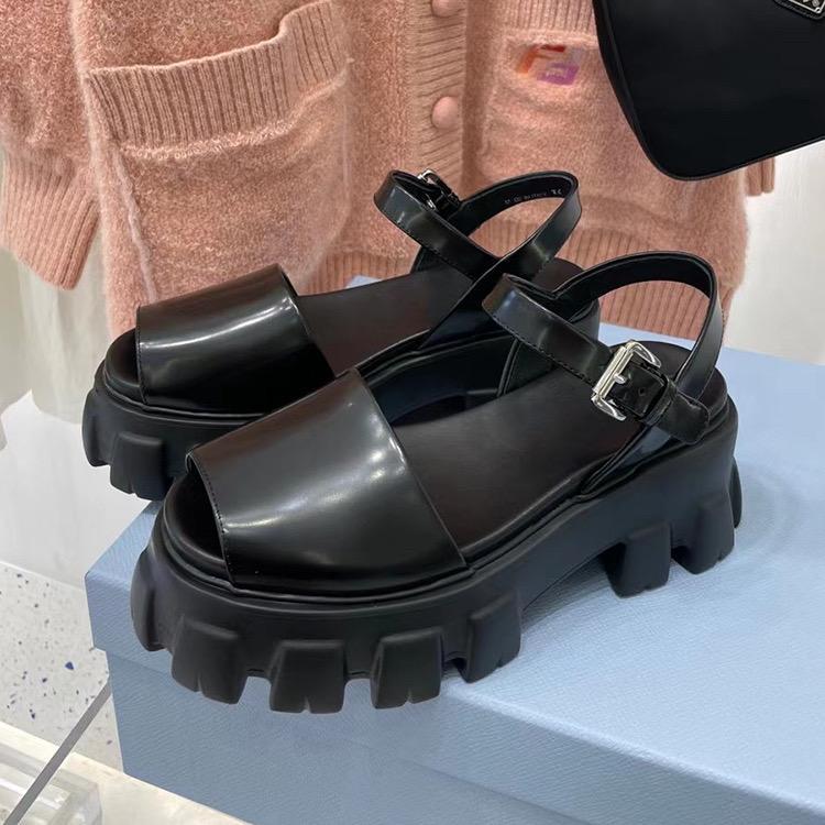 Hızlı Yüksek Kalite Sandal Dantel Balık İpucu kadın Kalın Soled Yuvarlak Kafa Deri Düz Ayakkabı Yaz 2021 Boyutu 35-41