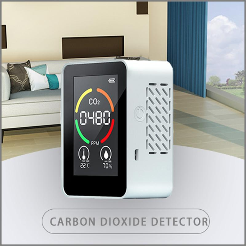 Carbon Dioxide CO2 Detector PPM Sensor Gas Concentration Content Color Sn Ligent Air Quality Analyzer With Temperature Humidity Display Monitor