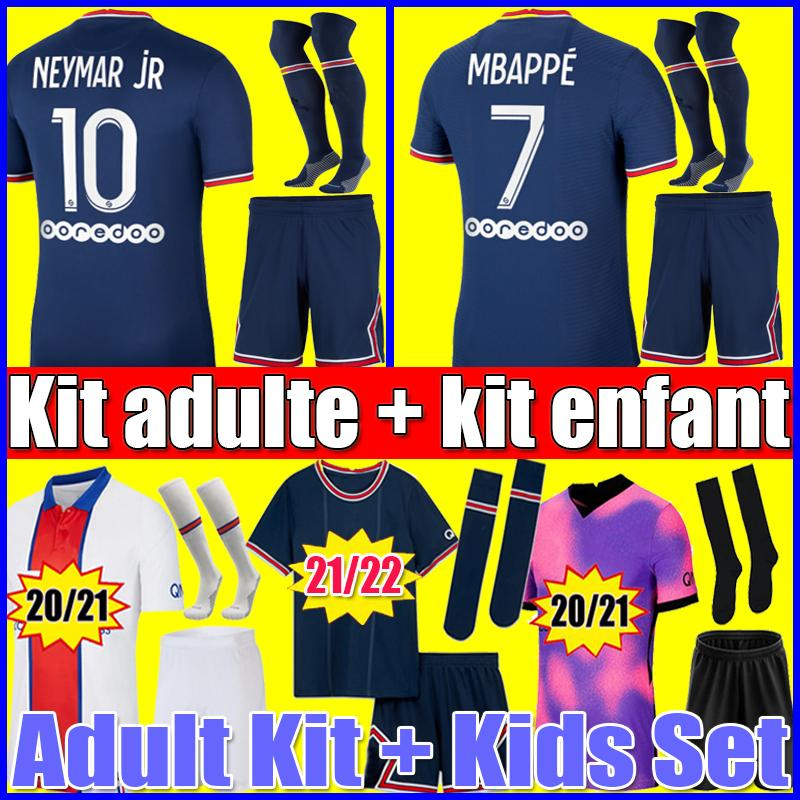 PSG MBAPPE KEAN  NEYMAR JR soccer jersey 21 22 football shirts 2021 2022 MARQUINHOS VERRATTI KIMPEMBE men kids sets uniforms fourth Adult kits socks