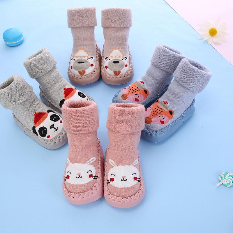 calzini da bambino con suole di gomma per bambini calzini per bambini baby boys calzino scarpe calda terry addensare pantofole bambino ragazza inverno 1881 Z2