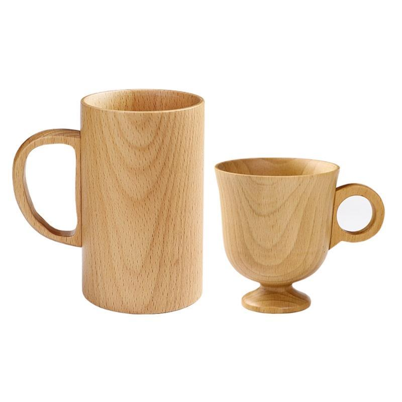 Mugs Wooden Coffee With Handle For Men Women Camping Cup Wood Travel Craft Tankard Tea Drinking Home School
