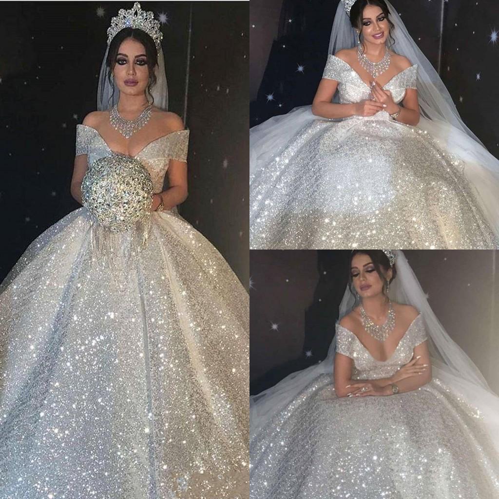 Brillante vestido de bola con lentejuelas Vestidos de novia Princesa 2021 Dubai Árabe Off Hombro Sexy Vestidos nupciales Sweep Train Vestidos De Novia Segunda recepción Vestido al5963