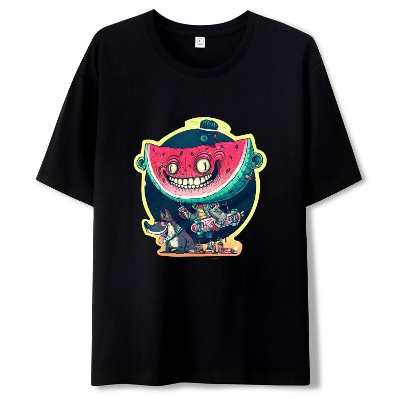 남성 T 셔츠 학생 패션 만화 디지털 인쇄 라운드 넥 반소매 청소년 캐주얼 느슨한 통기성 의류