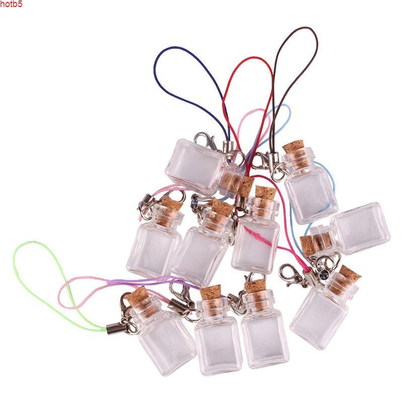 50 قطع شفافة مستطيل زجاجة زجاج الجرار قارورة متمنيا لطيف زجاجات الفن مع الفلين سدادة مفتاح سلسلة هدايا الكمية