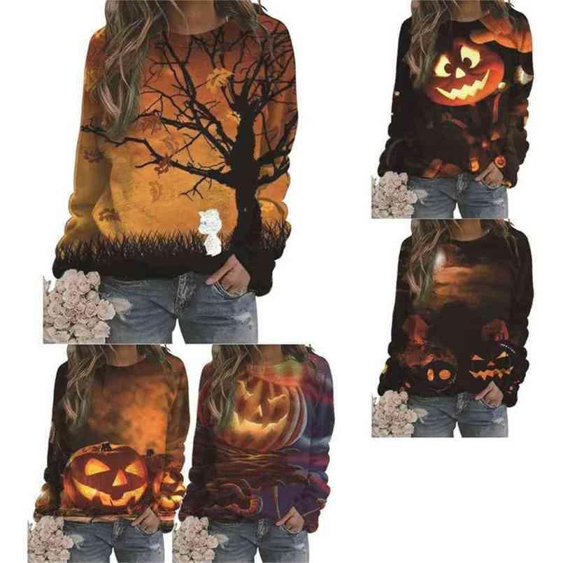 Halloween Kürbis Laterne Kleidung Frauen Pullover Print Sweatshirt Trainingsanzug Sport Frauen Shirts Langarm Sweatshirts Pullover Frau Party G890KP9