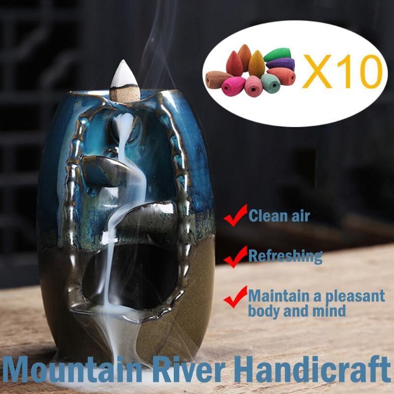 산 강 수공예 향 홀더 세라믹 백 흐름 폭포 연기 버너 홈 장식 향수 램프