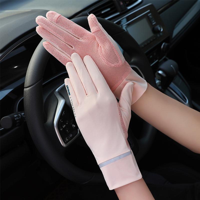 썬 스크린 장갑 실크 얇은 여성 여름 안티 UV 메쉬 통기성 터치 스크린 2 스타일 4 색 운전 5 손가락