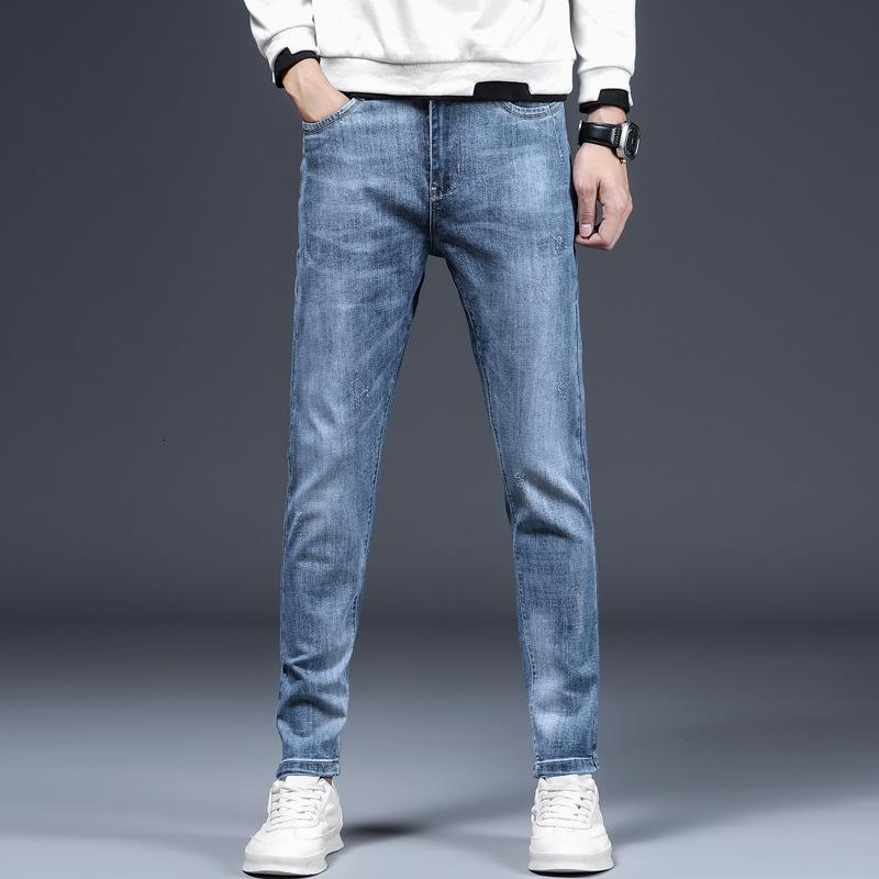 Lässig im Frühling und Sommer hellblaue Jeans Herren gerade dünne koreanische Modehosen