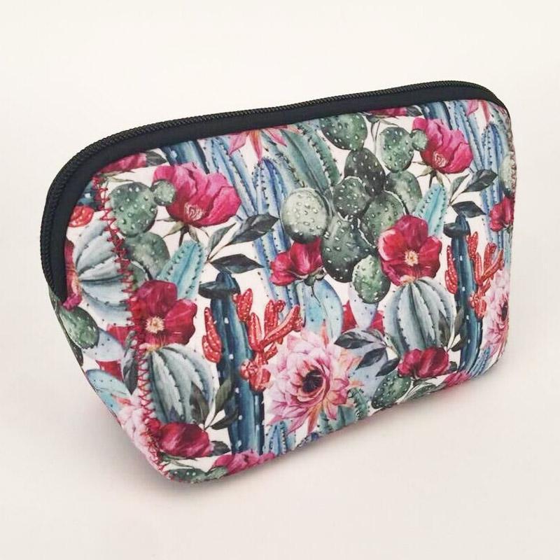 Triangle Flower Cactus Cosmetic Bag Wholesale Blanks Neoprene Serape Leopard Makeup Women Accessories Handbag DOM106529 Bags & Cases